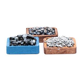 Comida em Miniatura para Presépio: Caixas peixe e mexilhões para bricolagem presépio 3 peças