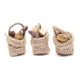 Comida em Miniatura para Presépio: Cestas pão e charcutaria 3 peças presépio