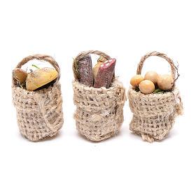 Comida em Miniatura para Presépio: Cestas charcutaria e ovos 3 peças presépio