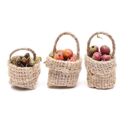 Cesti frutta 3pz. presepe 1