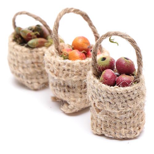 Cesti frutta 3pz. presepe 2