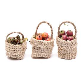 Comida em Miniatura para Presépio: Cestas fruta 3 peças presépio