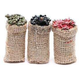Comida em Miniatura para Presépio: Sacos azeitonas e pimentas 3 peças presépio