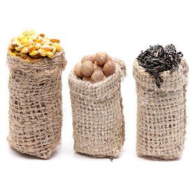 Comida em Miniatura para Presépio: Sacos hortaliças 3 peças presépio
