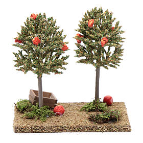 Nativity scene orange trees 15x15x10cm s4