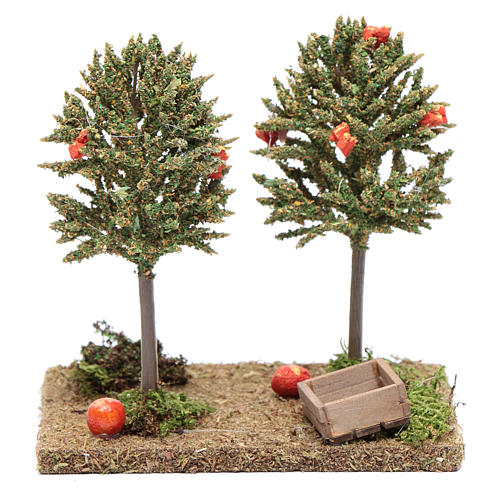 Nativity scene orange trees 15x15x10cm 1