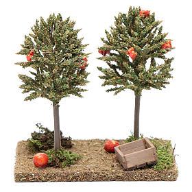 Arbres avec oranges pour crèche 15x10x10 cm s1