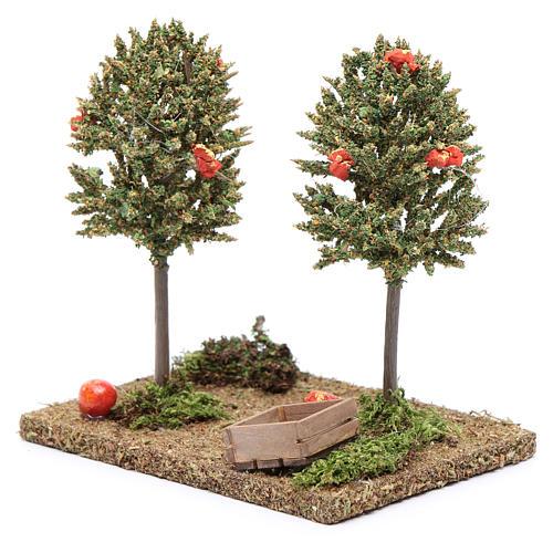 Drzewa pomarańczowe z owocami do szopki 15x10x10 cm 2