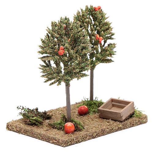 Drzewa pomarańczowe z owocami do szopki 15x10x10 cm 3