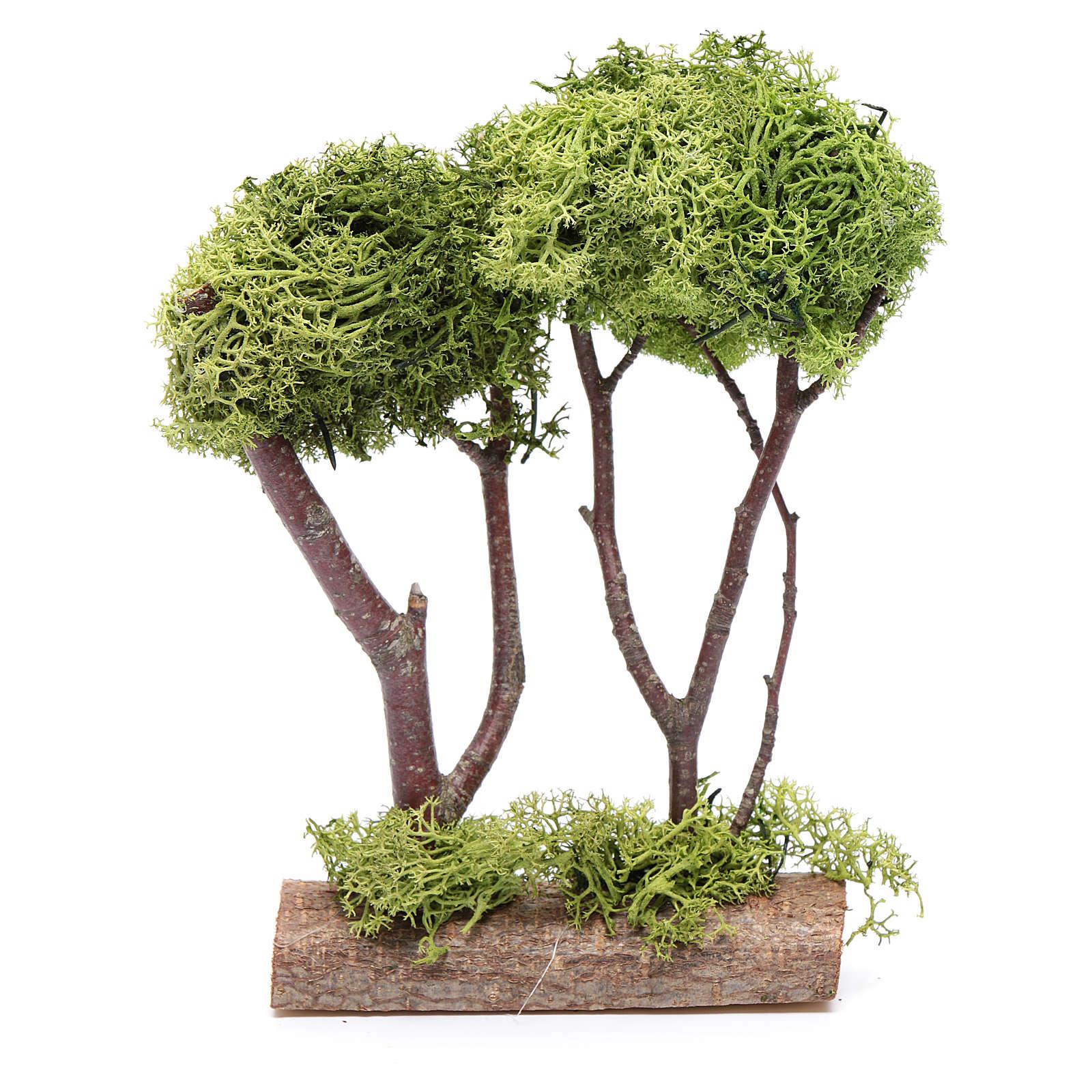 Doppio albero lichene per presepe 20x15x5 cm 4