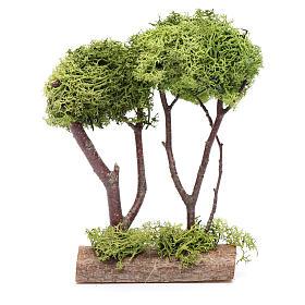 Doppio albero lichene per presepe 20x15x5 cm s3