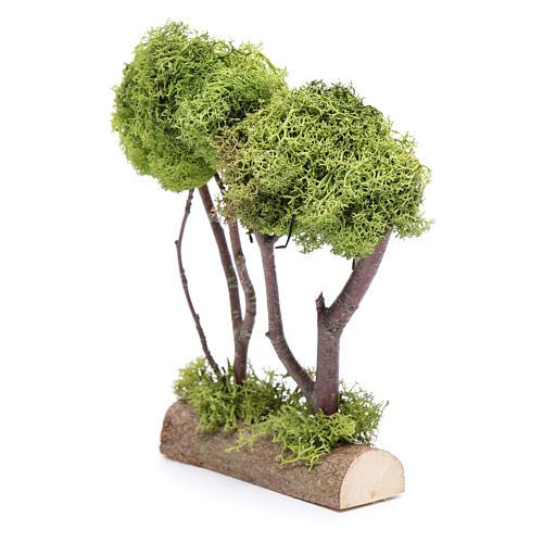 Doppio albero lichene per presepe 20x15x5 cm 2