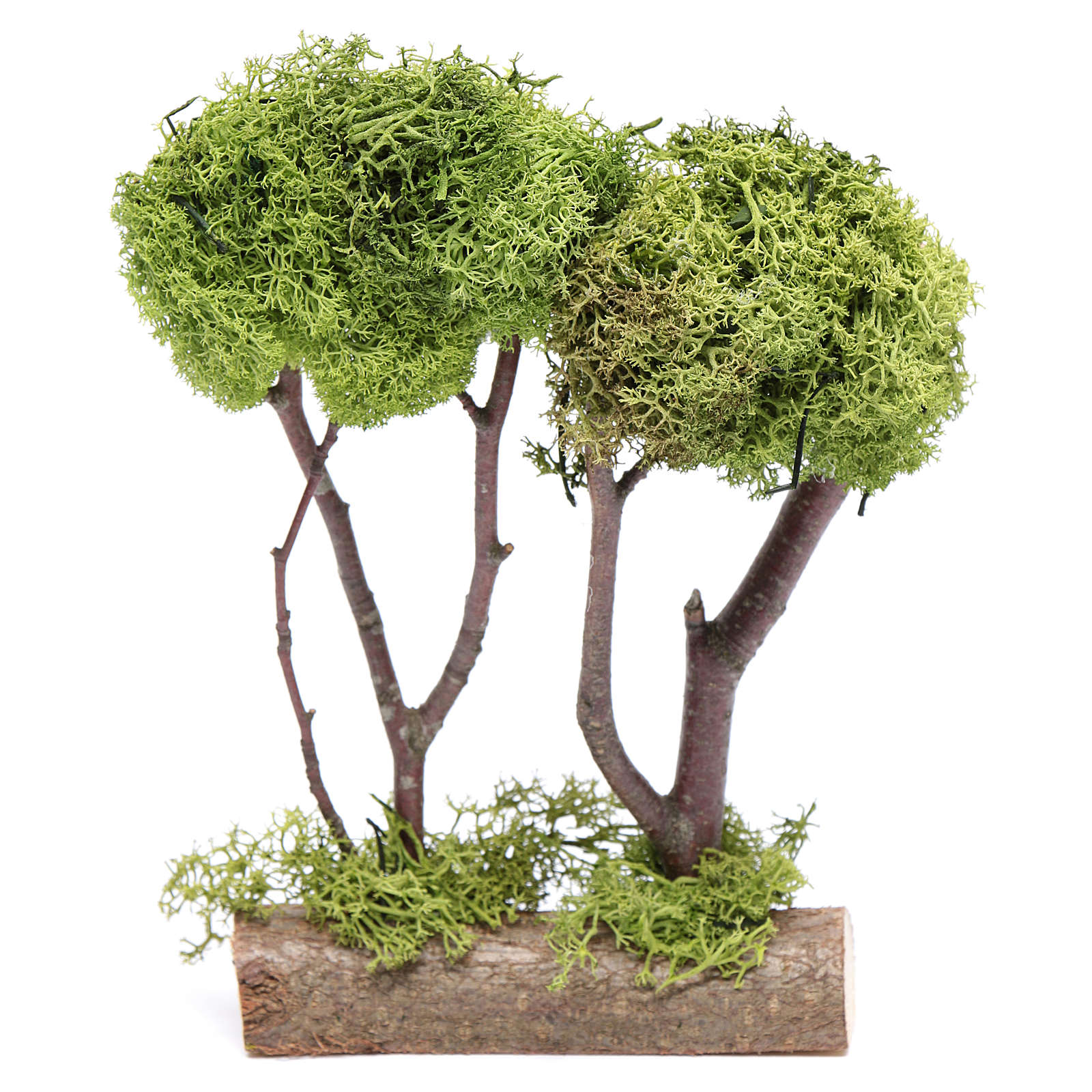 Árvore dupla líquen para presépio 20x15x5 cm 4