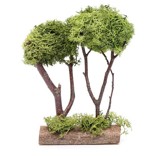 Árvore dupla líquen para presépio 20x15x5 cm 3