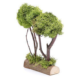 Wooden double tree with lichen for nativity scene s2