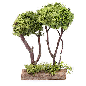 Wooden double tree with lichen for nativity scene s3