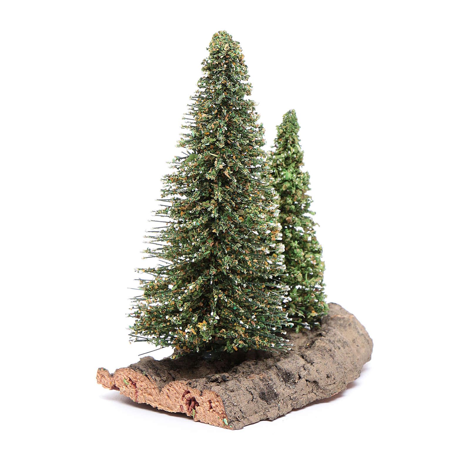 Dos pinos sobre roca para belén 10x5x10 cm 4