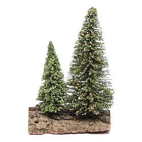 Dos pinos sobre roca para belén 10x5x10 cm s1