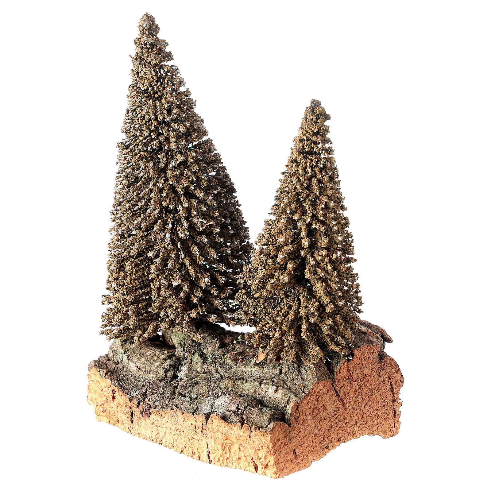 Due pini sulla roccia per presepe 10x5x10 cm 4