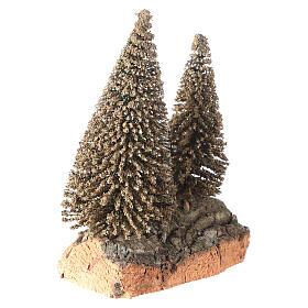 Due pini sulla roccia per presepe 10x5x10 cm s3