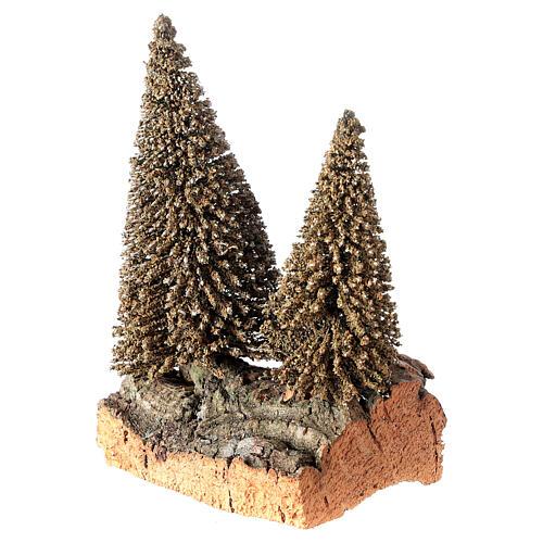 Due pini sulla roccia per presepe 10x5x10 cm 2