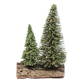 Musgo, Líquenes, Plantas, Pavimentações: Dois pinheiros na rocha para presépio 10x5x10 cm