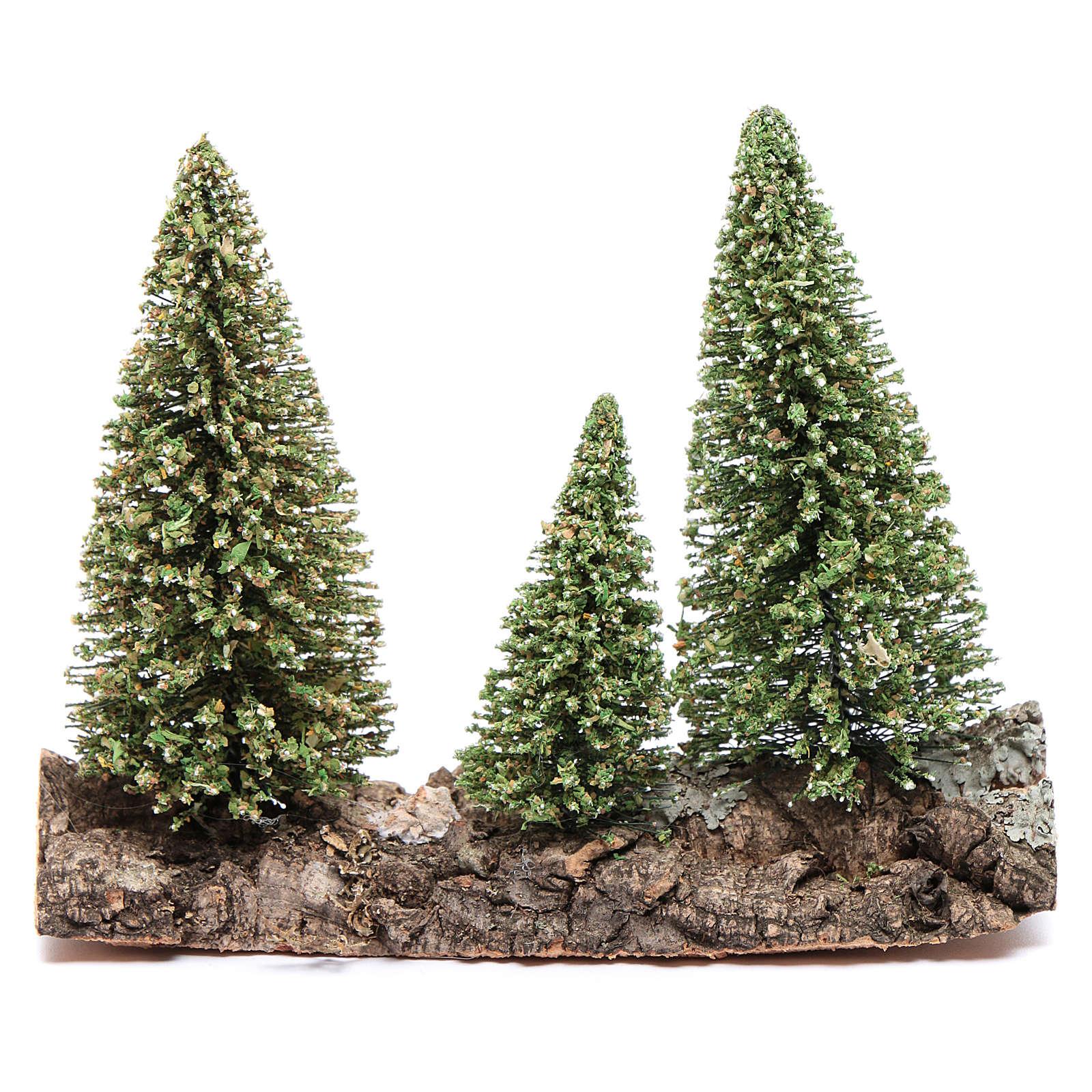 Nativity scene setting three pines on rock 4
