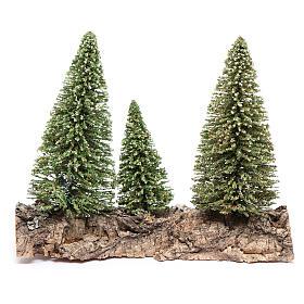 Nativity scene setting three pines on rock s3