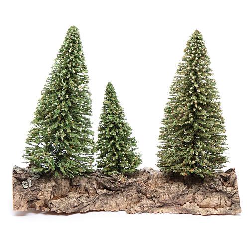 Nativity scene setting three pines on rock 3