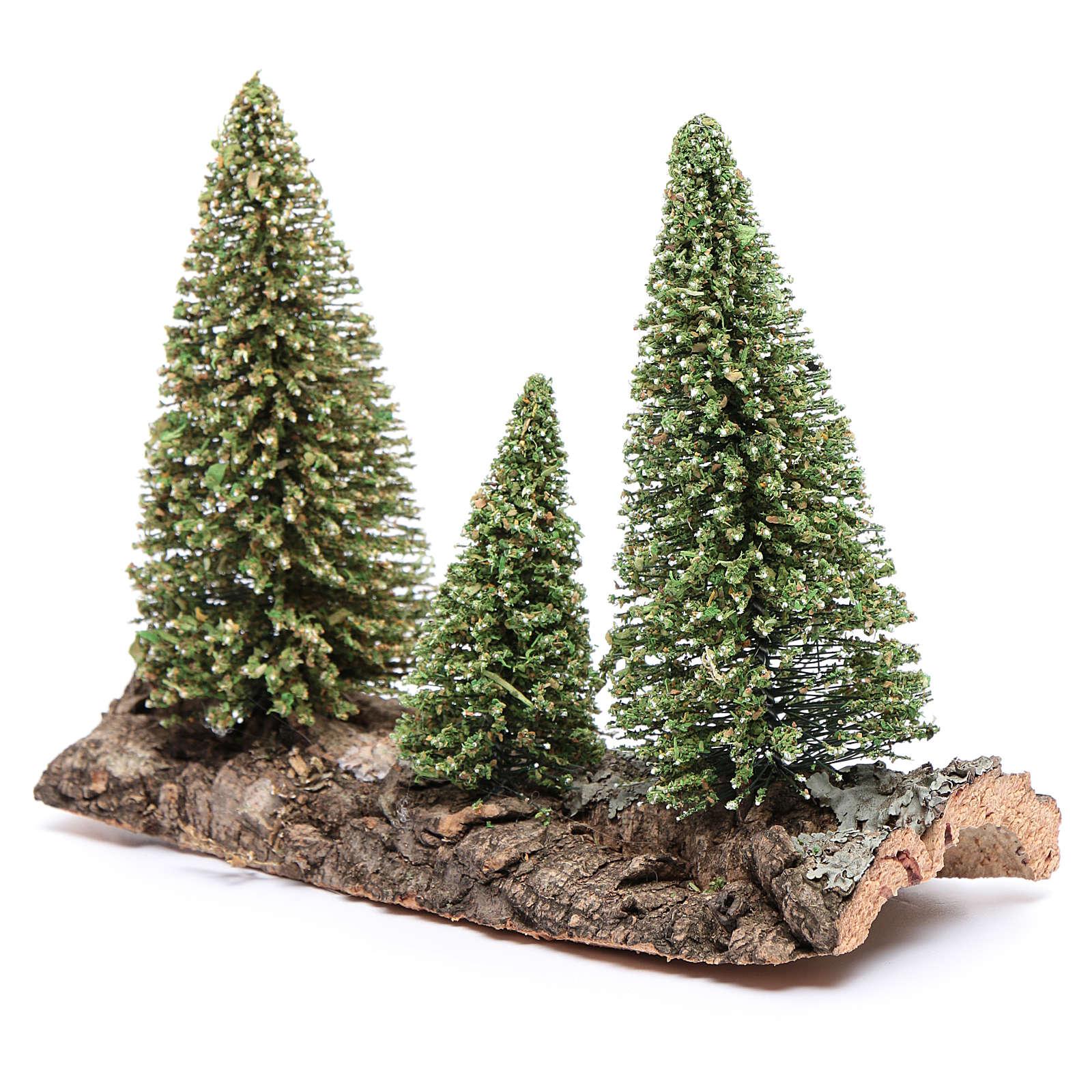 Tres pinos sobre roca para belén 4