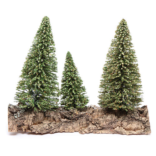 Tres pinos sobre roca para belén 3