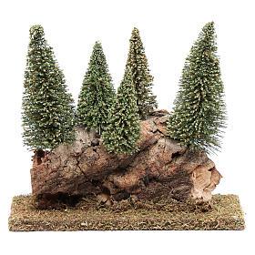 Mousse végétale, Lichens, Arbres, Pavages: Colline avec forêt de sapins 20x20x5 cm