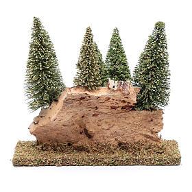 Collina con bosco di pini 20x20x5 cm s4