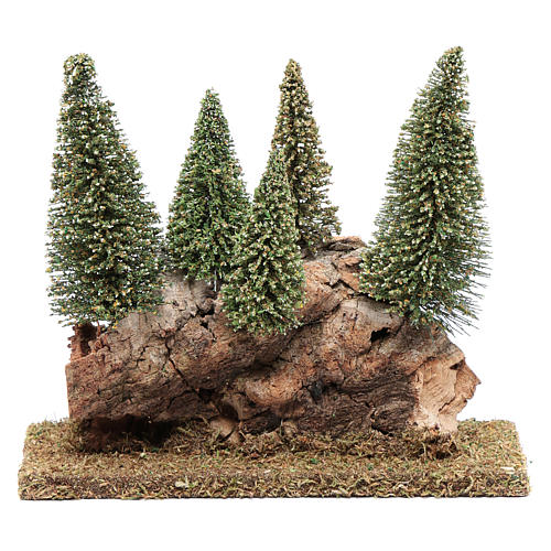 Collina con bosco di pini 20x20x5 cm 1