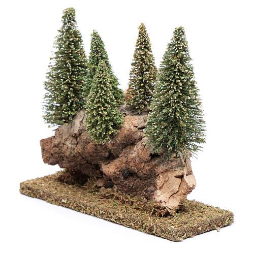 Collina con bosco di pini 20x20x5 cm 2