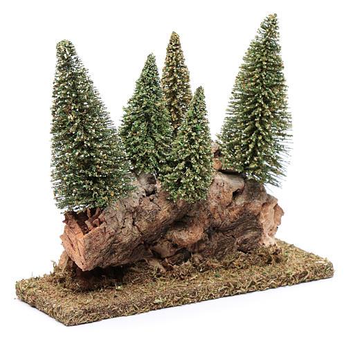 Collina con bosco di pini 20x20x5 cm 3