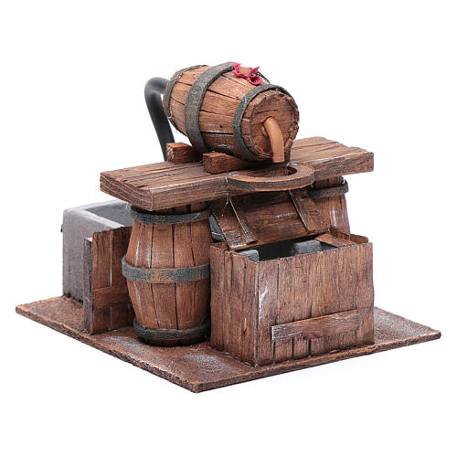 Cellar with barrel and water pump 15x15x15 cm 3