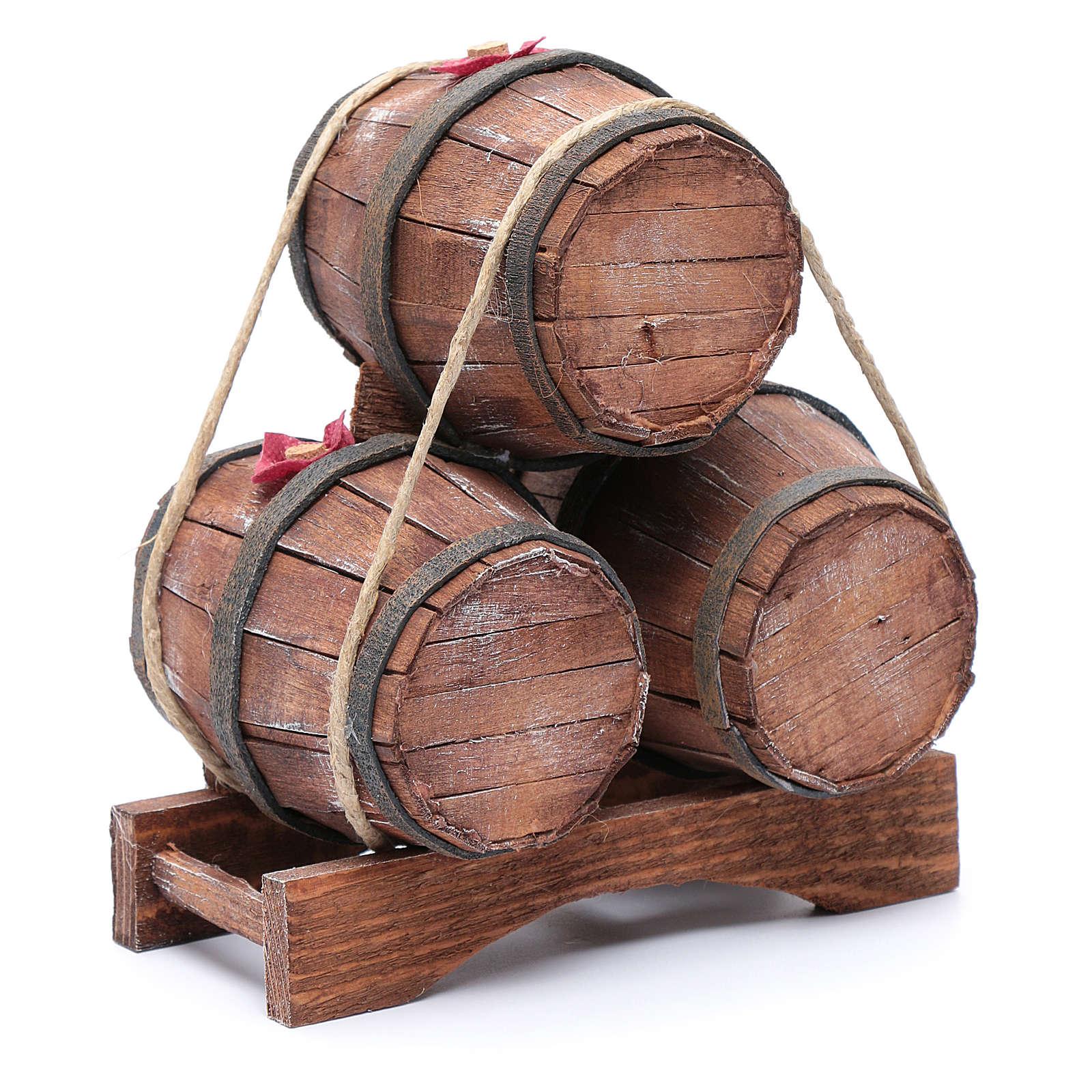 Tre botti in legno 20x15x10 cm 4
