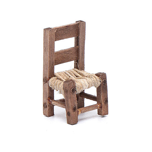 Miniature wooden chair sized 3 cm for Neapolitan nativity scene 1