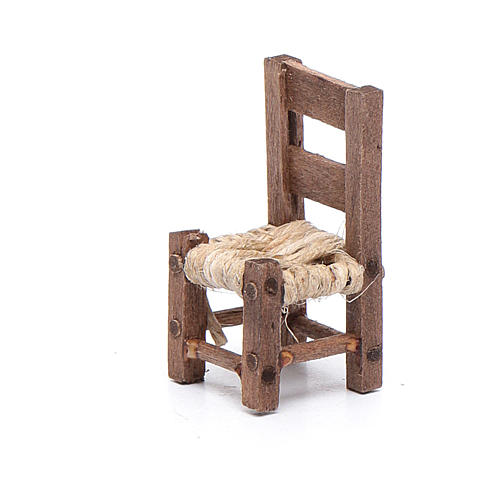 Miniature wooden chair sized 3 cm for Neapolitan nativity scene 2