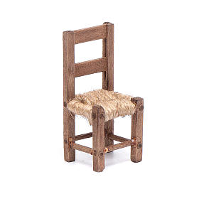 Chair in wood and rope 5 cm, Neapolitan nativity scene s1
