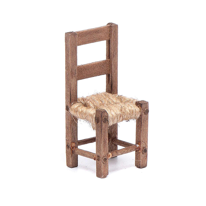 Sedia legno e corda 5 cm presepe napoletano 4