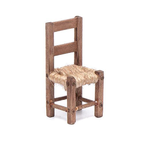 Sedia legno e corda 5 cm presepe napoletano 1