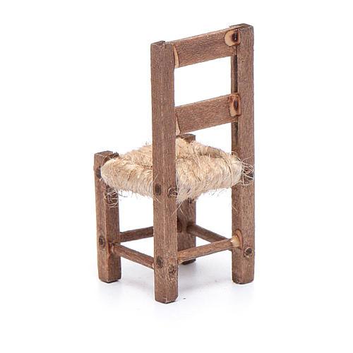 Sedia legno e corda 5 cm presepe napoletano 3