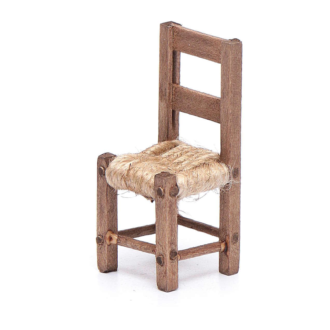 Krzesło drewno i sznurek 5 cm szopka neapolitańska 4