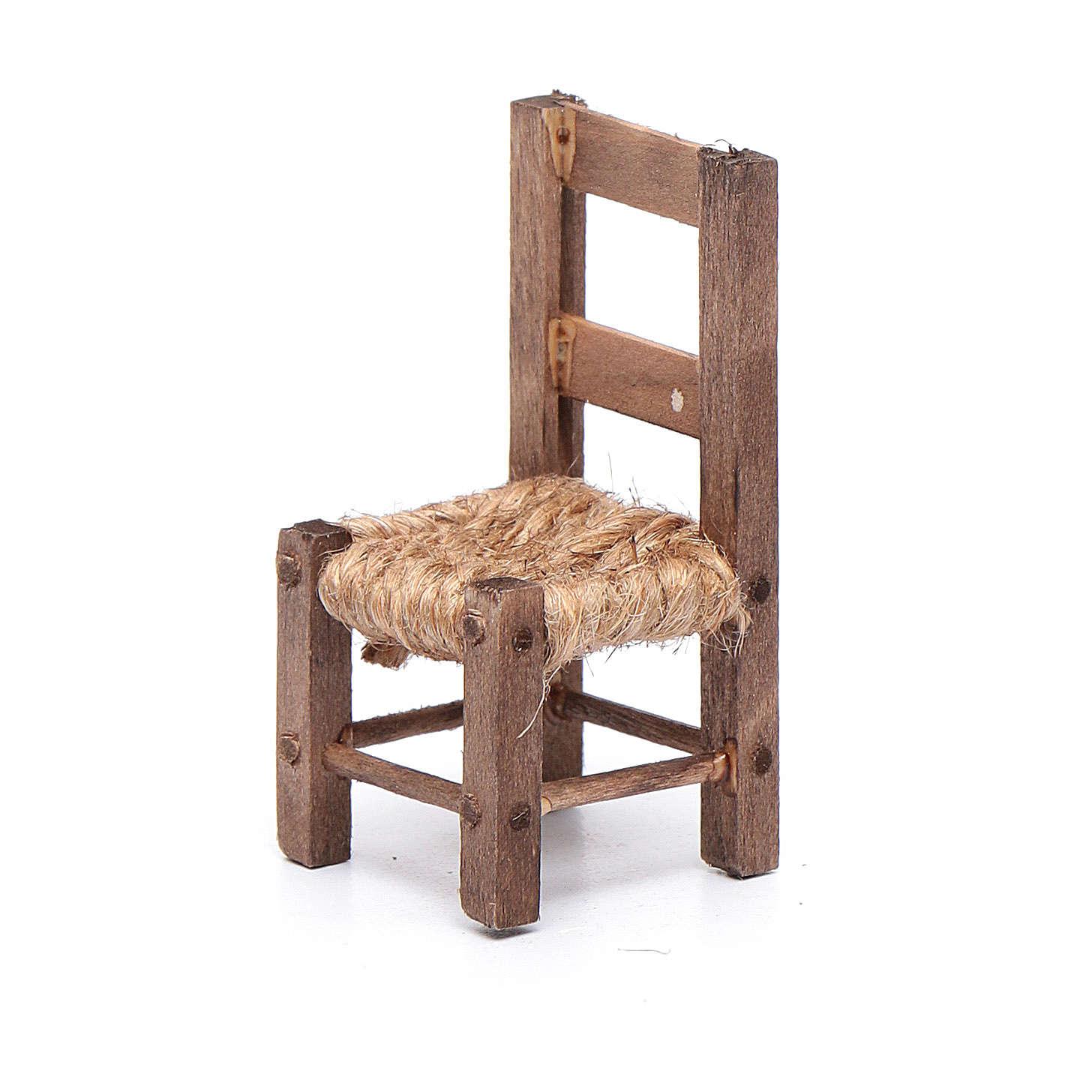 Krzesło 5 cm drewno i sznurek szopka neapolitańska 4
