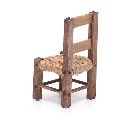 Krzesło 5 cm drewno i sznurek szopka neapolitańska 3