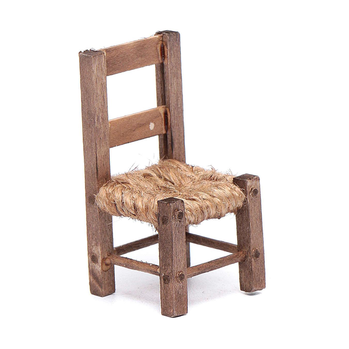 Cadeira 5 cm madeira e corda presépio napolitano 4