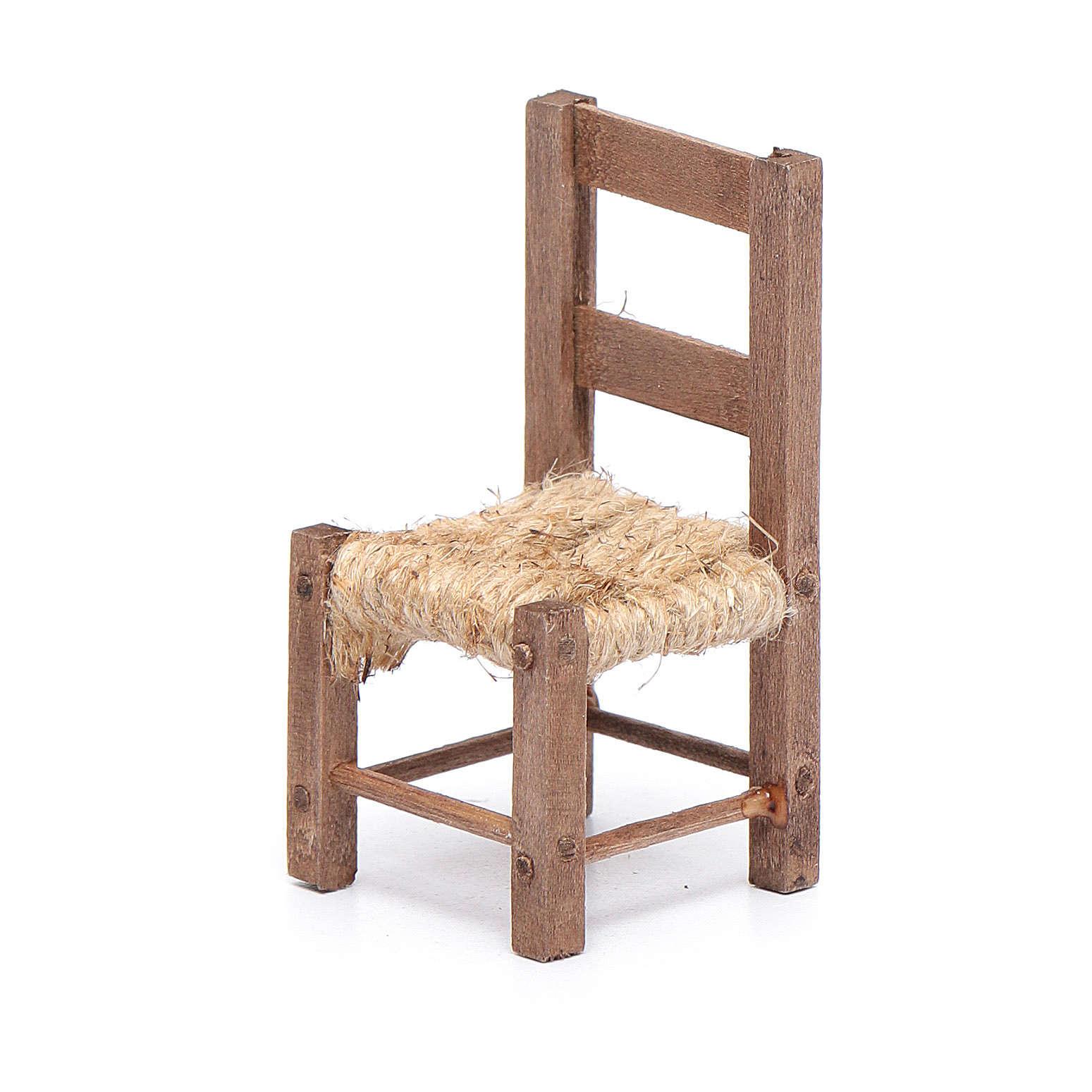 Silla madera y cuerda 6 cm belén napolitano 4