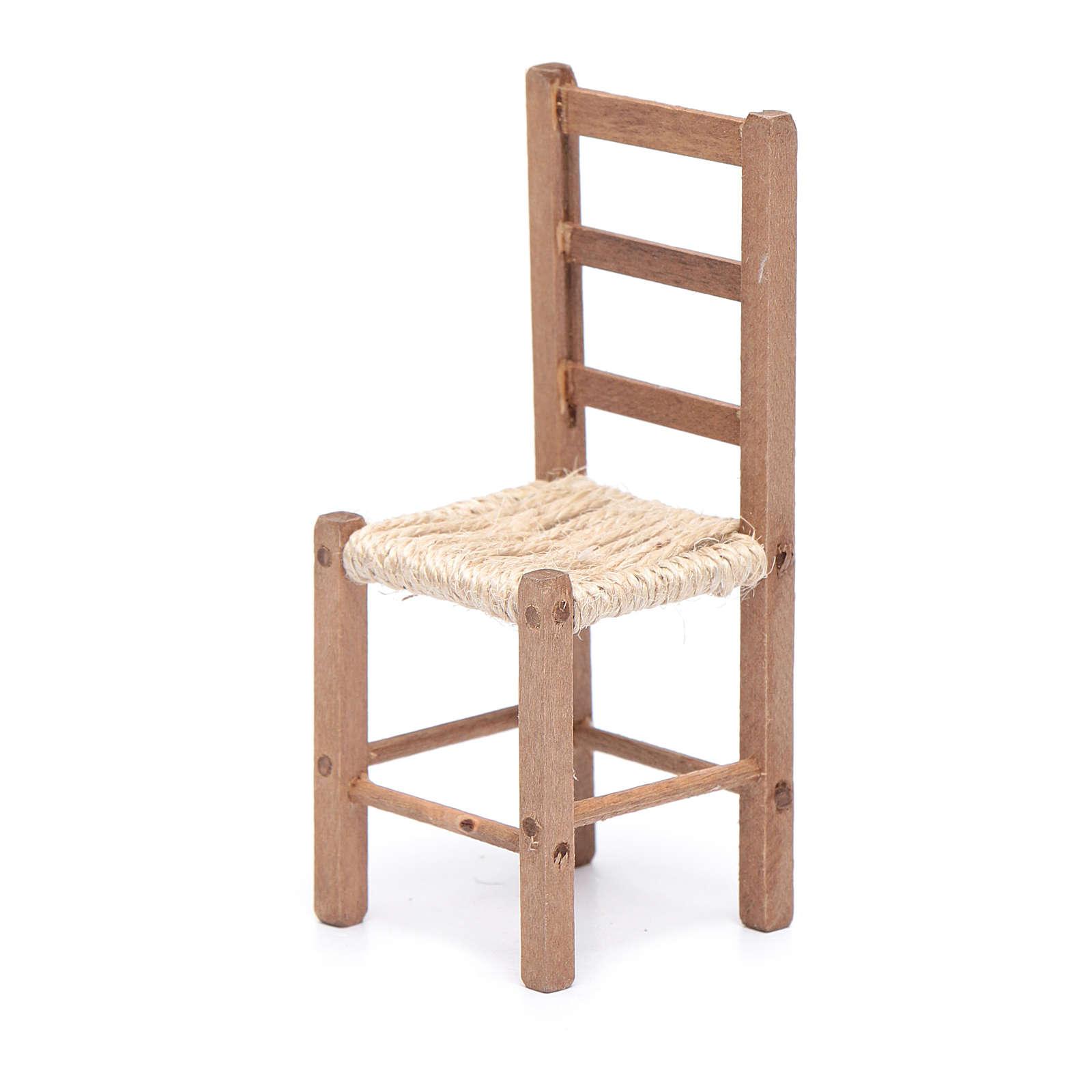 Sedia 11 cm in legno e corda presepe napoletano 4